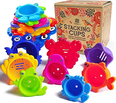 6 STACK UP CUPS FOR BABY AND TODDLER KIDS ACTIVITY DEVELOP BATH TOY TEACH LEARN