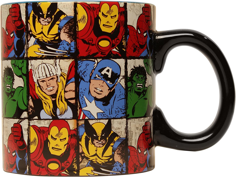 Marvel MV9134 Comics Character Grid Jumbo Ceramic Mug, 20-Ounces, Multicolor