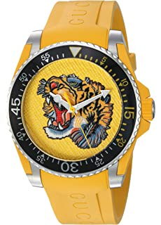 c7ff23cbe65 Gucci Quartz Stainless Steel and Rubber Casual Yellow Men s Watch(Model   YA136317)