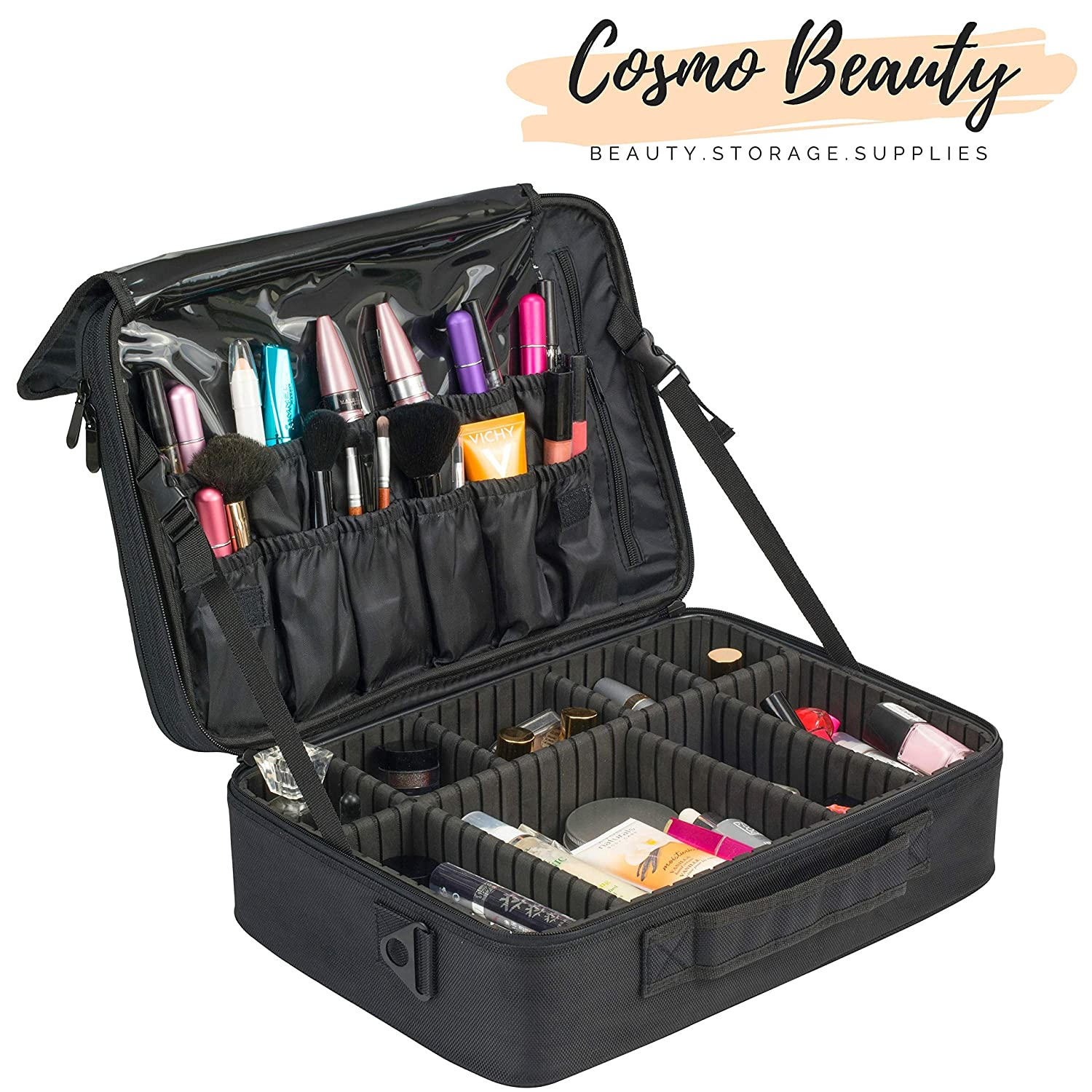 Cosmo Beauty Makeup Case – Large Professional Artist 3 Layers Travel Cosmetic Case 15.8 with Beauty Mirror and Adjustable Dividers, Perfect for Makeup Brushes, Jewelries, and Toiletries