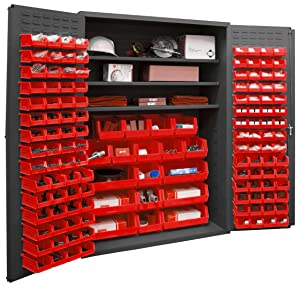 "Durham 2502-138-3S-1795 Lockable Cabinet with 138 Red Hook-On Bins, 3 Adjustable Shelves, Flush Door Style, 48"" Wide, 16 Gauge, Gray"