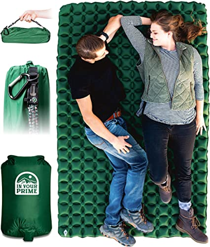 In Your Prime Double Sleeping Pad for Camping Backpacking, Camping mat for Tent, Hiking, Truck or Beach- Fast Inflatable Portable Mattress Paracord Bracelet, Pump Sack Carabiner