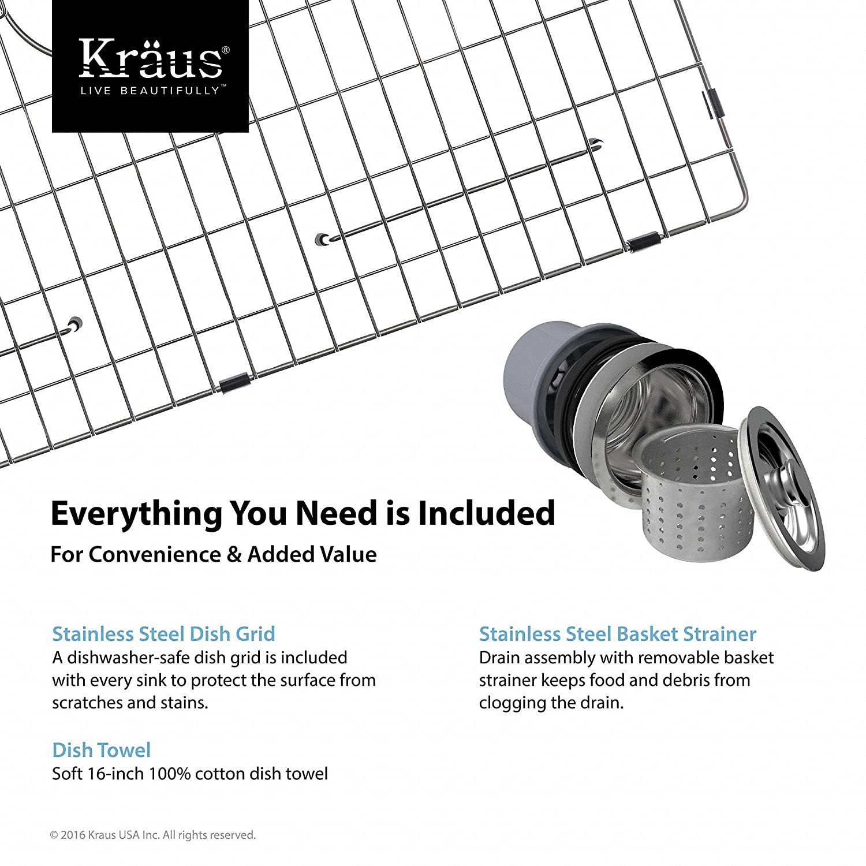 Amazon.com: Kraus KHF200 33 33 Inch Farmhouse Apron Single Bowl 16 Gauge Stainless  Steel Kitchen Sink: Home Improvement