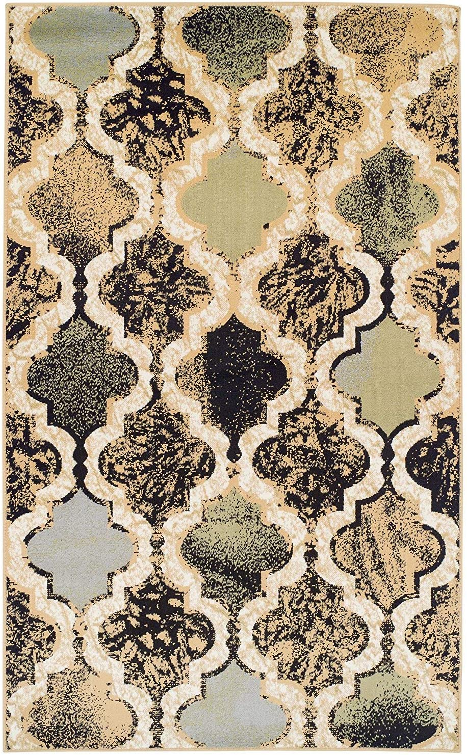 Water-Repellent Rugs 8 x 10 Rug Beige Anti-Static Chic Textured Geometric Trellis Pattern Superior Modern Viking Collection Area Rug 10mm Pile Height with Jute Backing