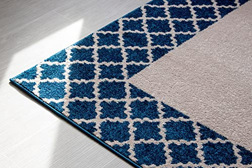 Netural Blue Rug Border Trellis 5×8 Geometric Lattice Print Premium Non-Shed Durable Poly Yarn Area Rug, 5 x 8