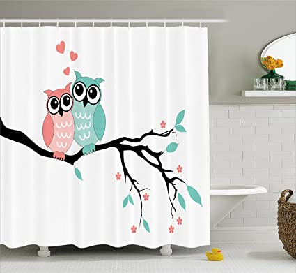 Ambesonne Teal And White Shower Curtain Cute Owl Couple Sitting On Tree Branch Valentines Romance