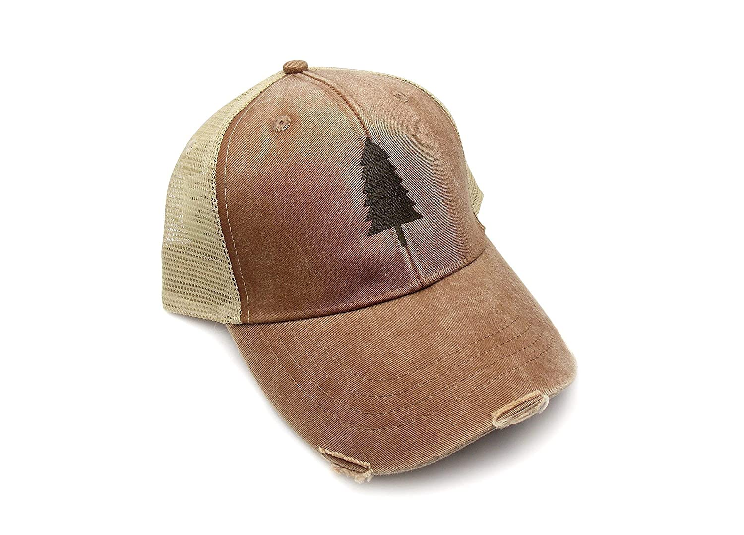 B01JVI63I4 Trucker Hat - Wilderness Area - Adjustable Men's/Unisex Distressed Trucker Hat - 2 Color Options Available 918ISIbQV1L