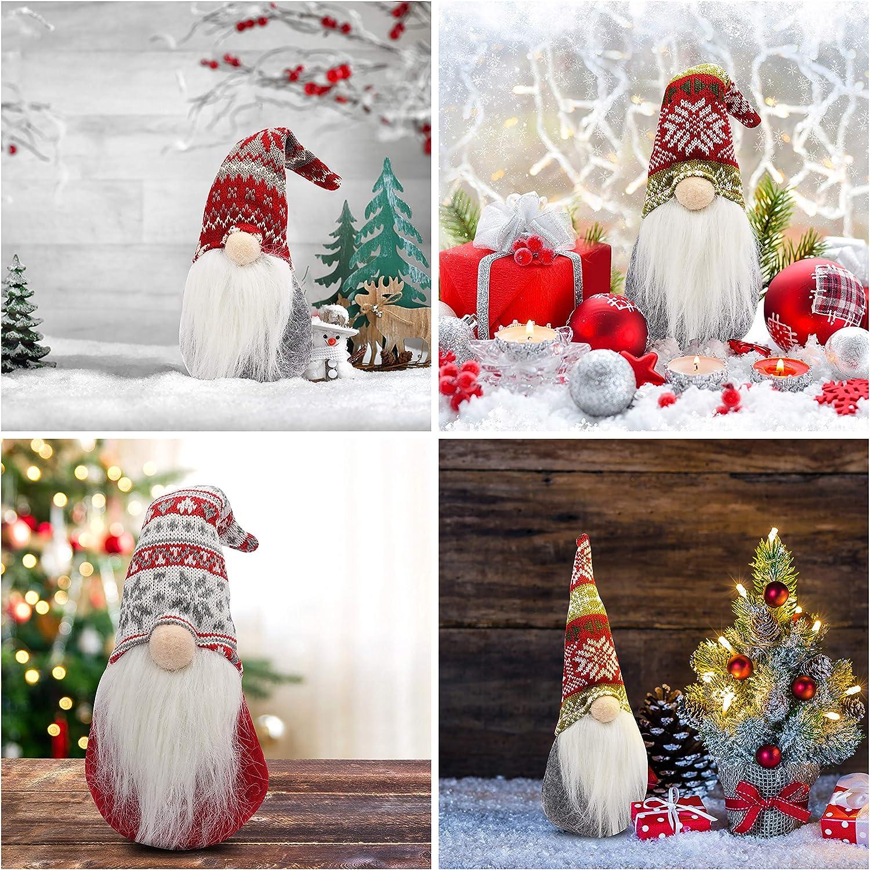 BELLE VOUS GNOME Noel D/éco Lot de 3 - Lutin de Noel Peluche 31 x 13,5 cm pour D/écoration de Noel et D/écoration de Table Lutins de Noel Su/édois Poup/ée Elfe de Noel pour Chemin/ée Cadeaux