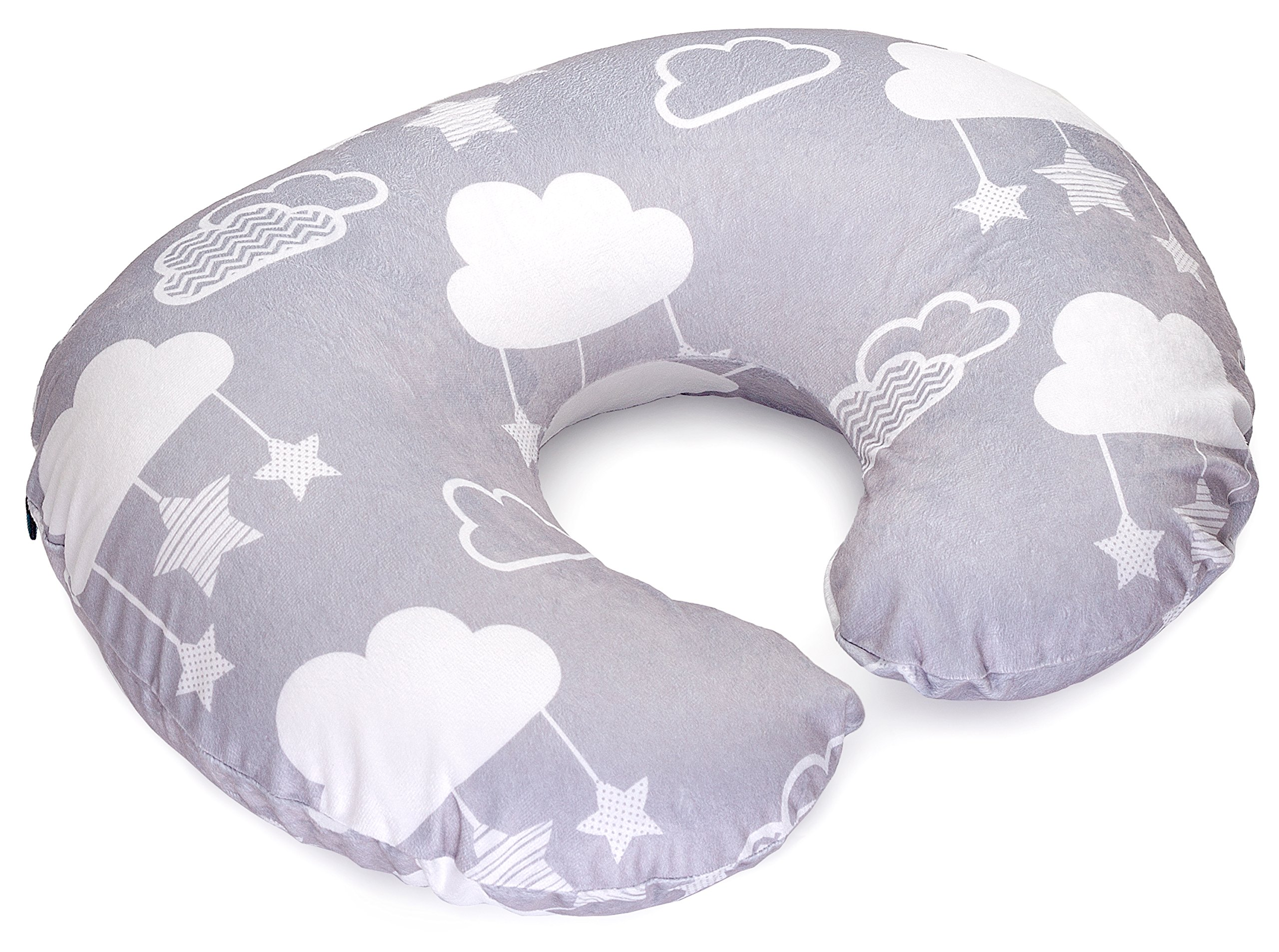 Childlike Behavior Minky Nursing Pillow Cover - Perfect Slipcover for Breastfeeding Moms | Soft Fabric Fits Snug On Infant Nursing Pillows to Aid Mothers While Breast Feeding | Stars and Clouds