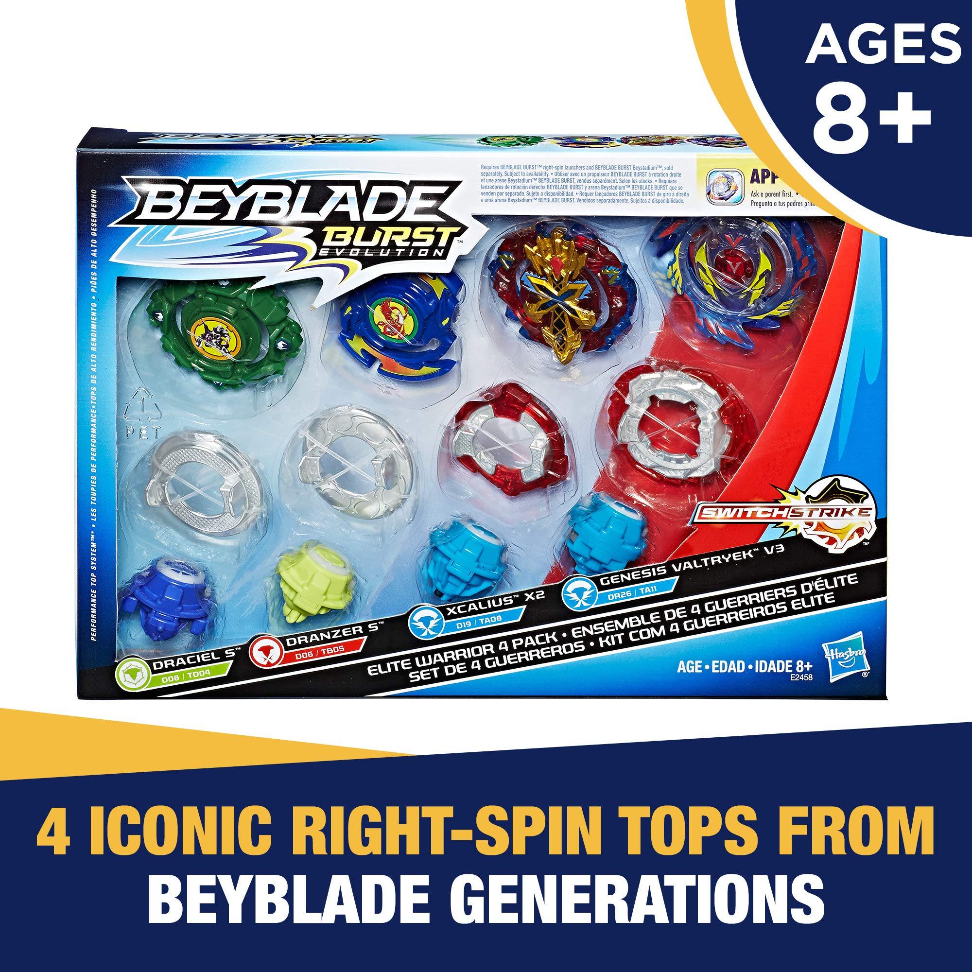Beyblade Burst Evolution Elite Warrior 4-Pack - 4 Iconic Right-Spin Battling Tops, Age 8+ Toy E2458AC1 (Amazon Exclusive) by BEYBLADE (Image #2)
