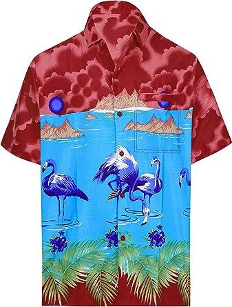 LA LEELA Casual Hawaiana Camisa para Hombre Señores Manga Corta Bolsillo Delantero Vacaciones Verano Hawaiian Shirt 6XL-(in cms): 172-178 Turquesa_W59: Amazon.es: Ropa y accesorios