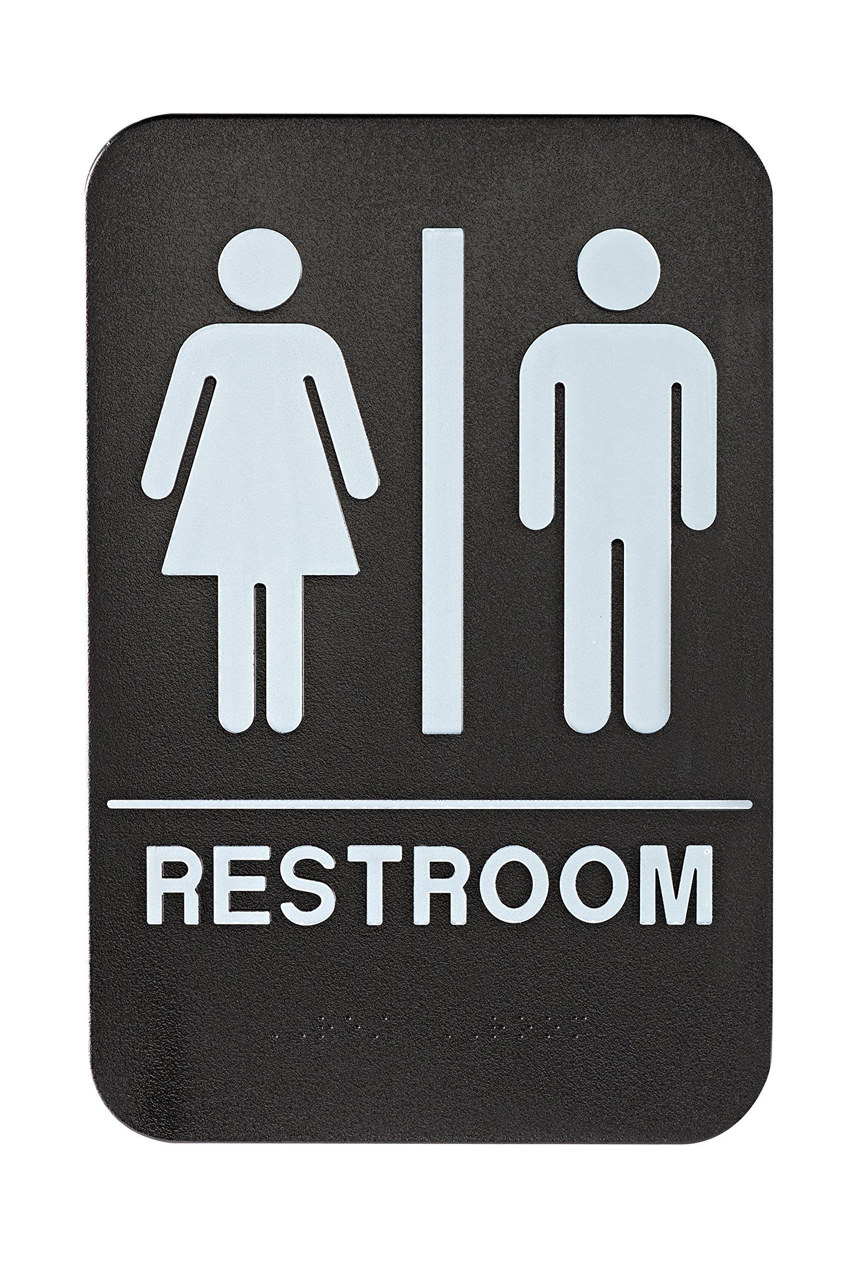 Alpine Industries Unisex Bathroom Restroom Sign, Black/White, ADA Compliant 6''x9''