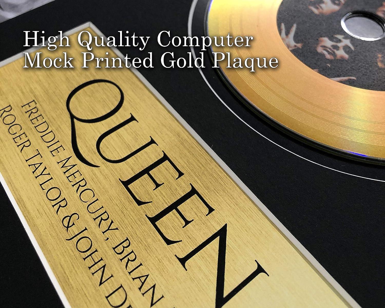 HWC Trading A3 FR Queen Freddie Mercury Brian May Gifts - Fotografía firmada con una imagen de disco dorado para aficionados a la música Memorabilia - Enmarcado A3: Amazon.es: Amazon.es
