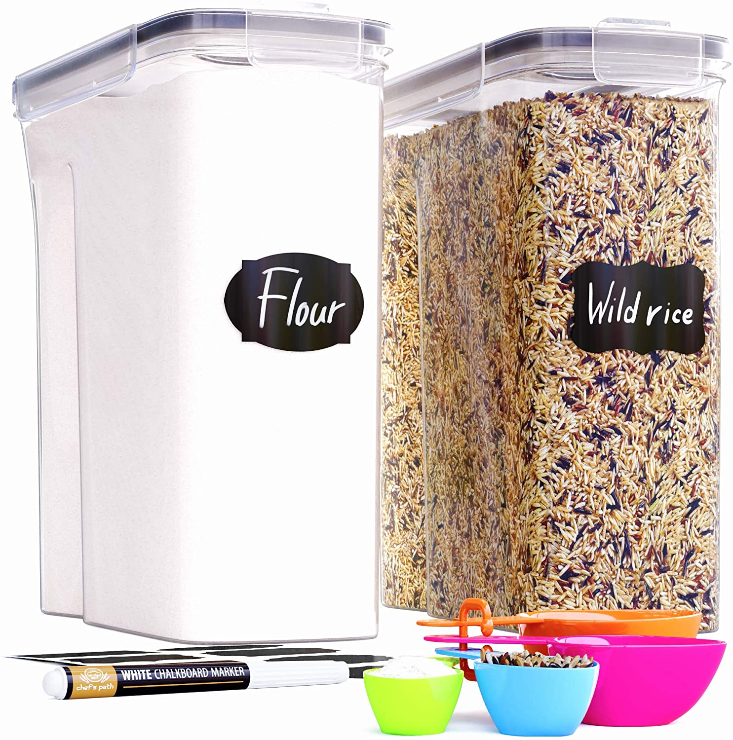 Extra Large Tall Food Storage Containers (213oz) for Rice, Flour, Sugar & Cereal Airtight Kitchen & Pantry Organization Bulk Food Storage, BPA-Free - 2 PC Set - Canisters, Pen & Labels - Chef's Path