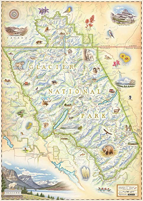 image about Printable Map of Glacier National Park named Xplorer Maps Glacier Countrywide Park Map - Legitimate Hand Drawn Map Artwork of Glacier - Lithographic High-quality-Artwork Print