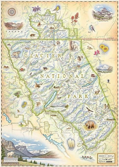 image about Printable Map of Glacier National Park named Xplorer Maps Glacier Countrywide Park Map - Legitimate Hand Drawn Map Artwork of Glacier - Lithographic High-quality-Artwork Print