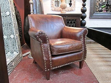 Stupendous Amazon Com Aged Leather Club Chair Kitchen Dining Spiritservingveterans Wood Chair Design Ideas Spiritservingveteransorg