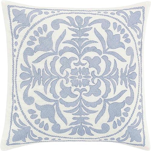 Laura Ashley Mila Throw Pillow, 18×18, Blue