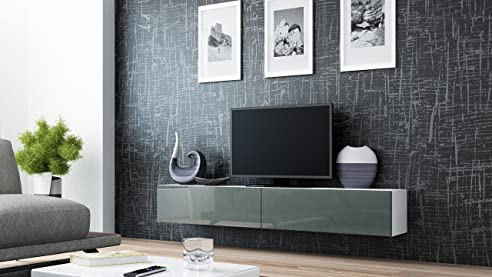 Wohnwand weiß grau hochglanz  TV Board Lowboard Migo Hängeschrank Wohnwand 180cm (Weiß Matt ...