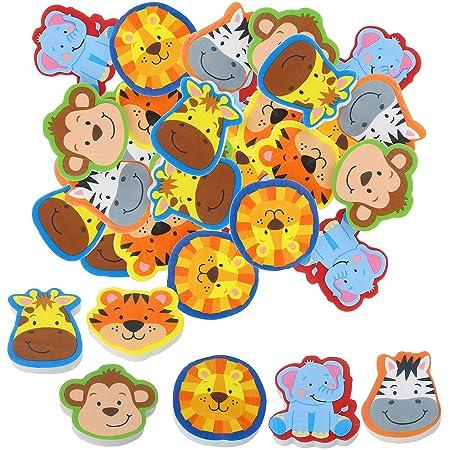 com-four® Borrador 36x con Motivos Animales - Gomas de borrar en Colores Brillantes cumpleaños o para la Mochila Escolar [la selección varía]