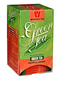Wissotzky Green Tea with Apple and Cinnamon, 1.06-Ounce Boxes (Pack of 6)