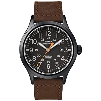 7a984f70aa61 Timex Men s TW4B12500 Expedition Scout Brown Black Leather Strap Watch