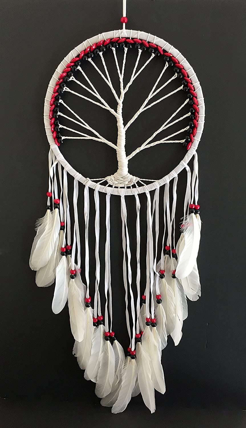 OMA Dream Catcher - TREE OF LIFE White Suede Dreamcatcher With Feathers & Wood Beads - LARGE SIZE - 36