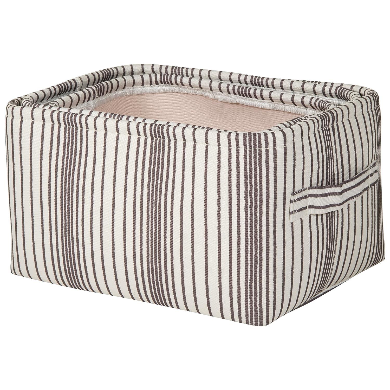 Amazon.com : Sheffield Home   Set Of Three Canvas Vertical Stripe Storage  Bins With Handles   Open Storage Bins   Decorative Storage Bins   (White  And Grey) ...
