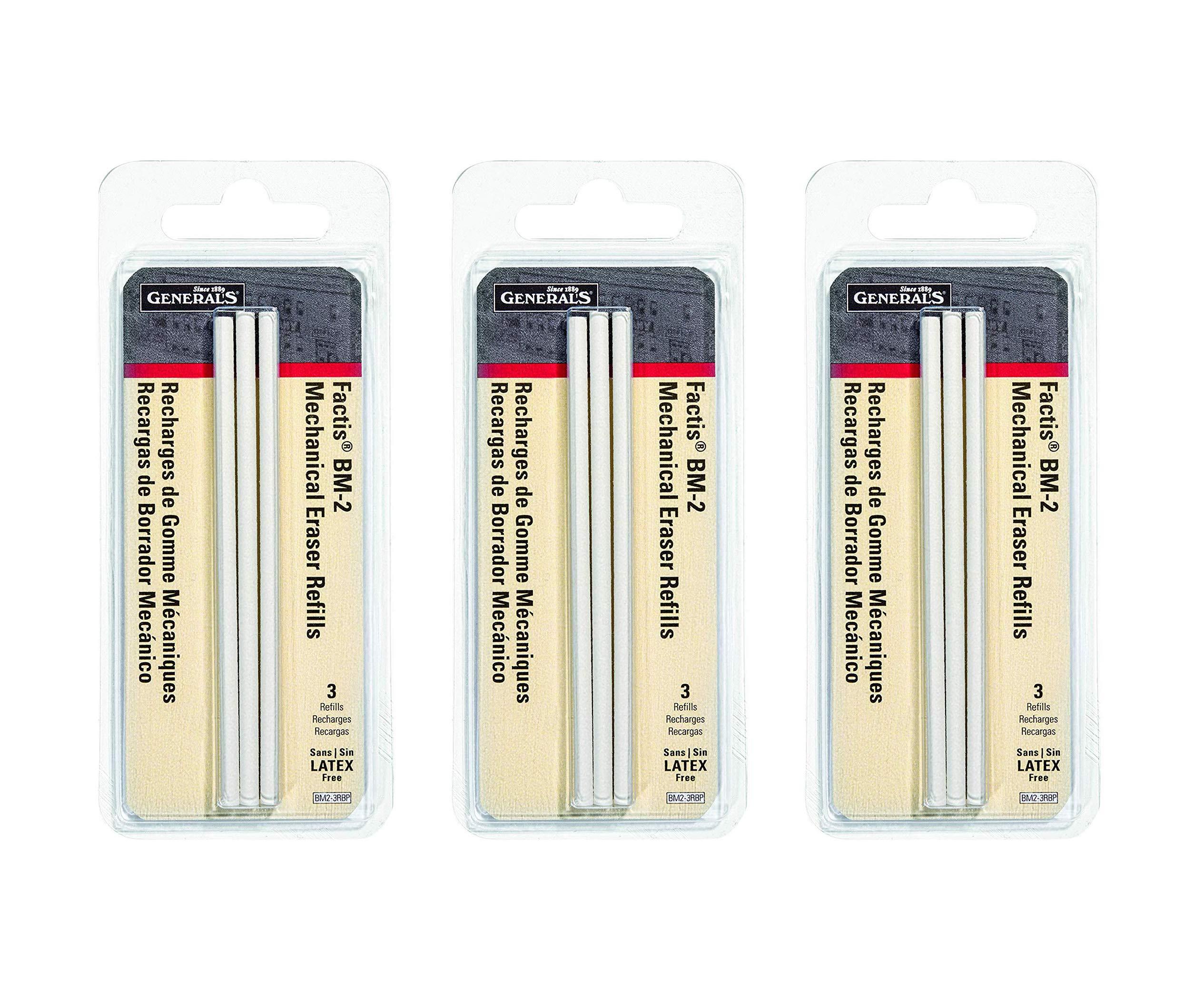 General Pencil CO. GPBM2-3RBP Factis Pen Style Eraser Refills 3Pcs Carded (Тhree Pаck)