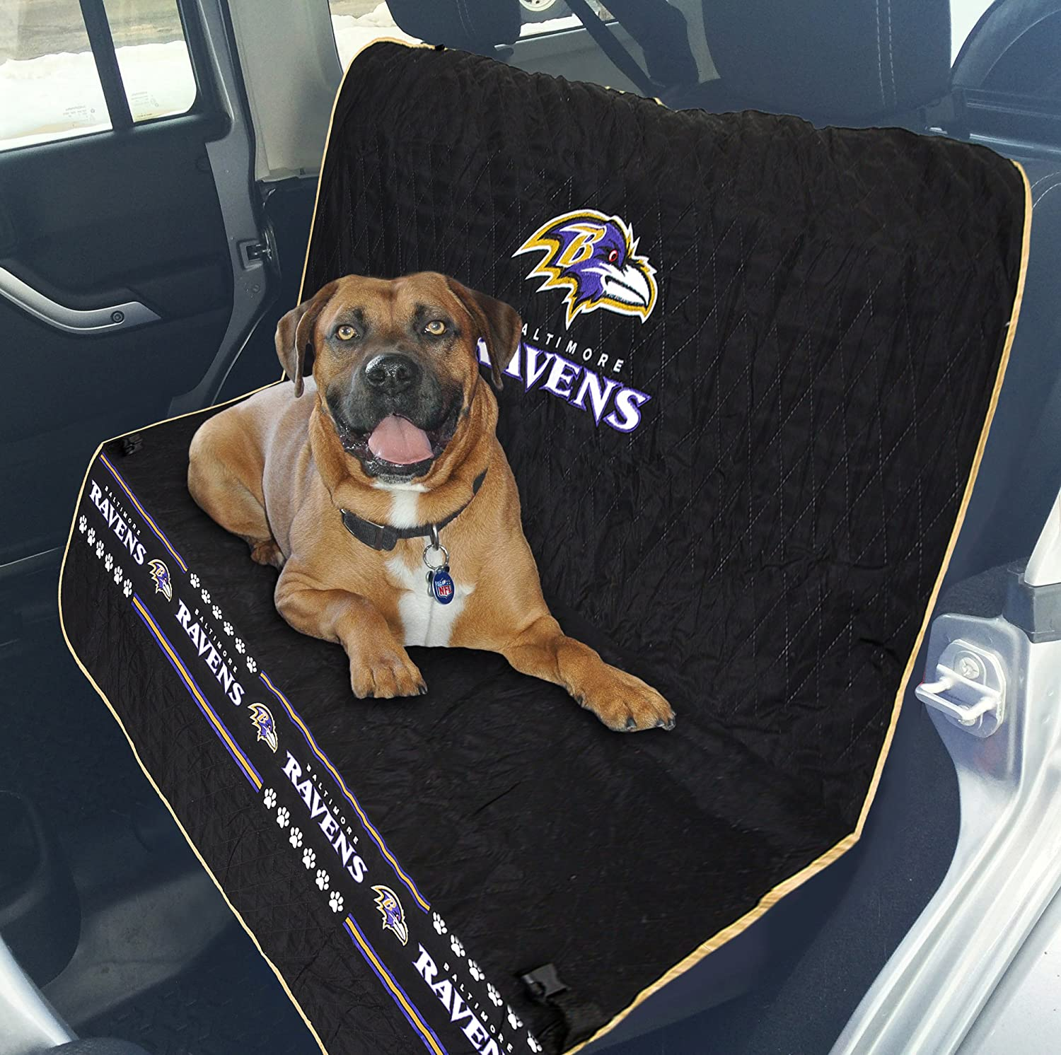 NFL CAR SEAT Cover. Pet Car Seat Cover. Dog Seat Cover. Waterproof Bench Seat Cover. Football Car Seat. Available in 32 NFL Teams . Premium Pet Seat Cover. (Baltimore Ravens)