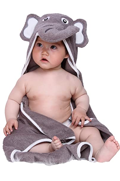Hooded Baby Bath Towel, 100% Natural Terry Soft Absorbent Cotton, Large 30-Inch by 30-Inch Size