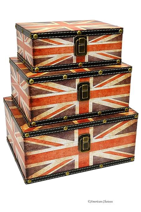 Set 3 Union Jack British Flag Wood Nesting Vintage Trunks Home Storage Boxes  sc 1 st  Amazon.ca & Set 3 Union Jack British Flag Wood Nesting Vintage Trunks Home ...