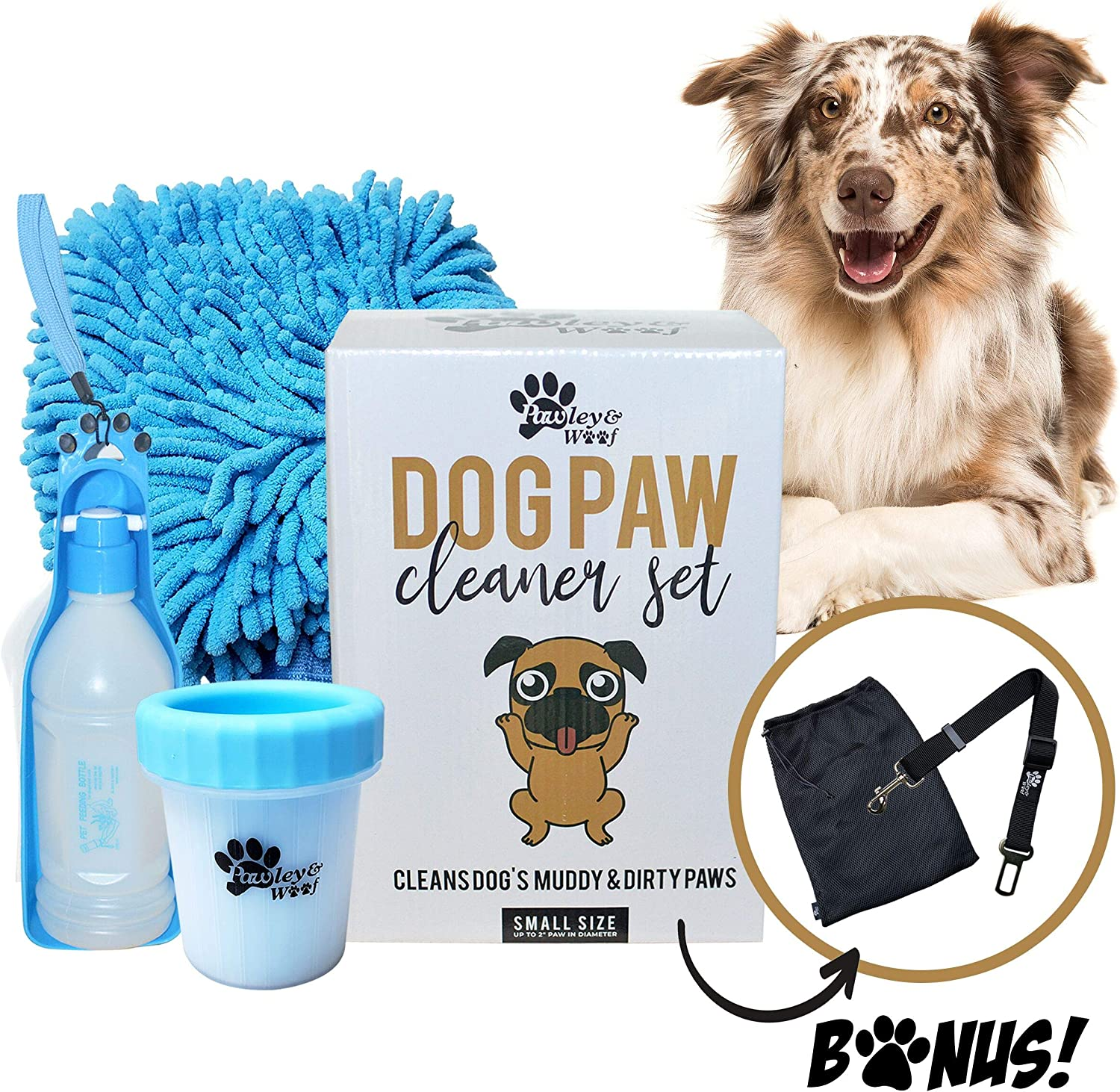 Dog Paw Washer - Portable Cleaner Cup Plunger for Dirty Paws, Travel Dog Water Bottle Dispenser, Dog Seatbelt