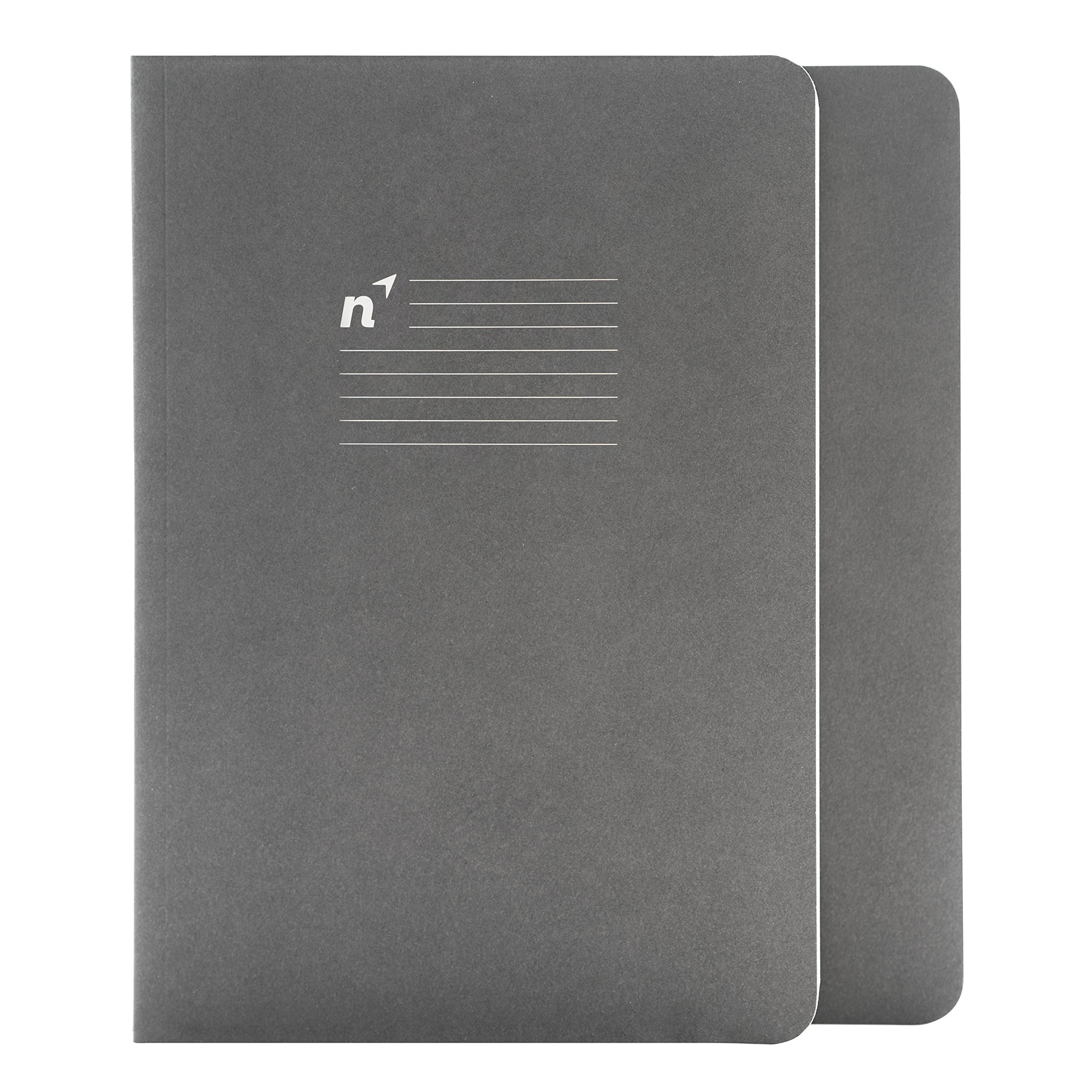 Northbooks A5 Softcover Writing Notebooks: Journal/Notebook / Diary/Notepad for School, Work, Travel or Personal Use - 144 Pages - 5.81'' x 8.25'' Cream Lined College Ruled Paper - Gray, 2 Pack