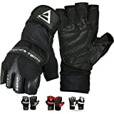 EMRAH Genuine Leather Weight Lifting Gloves with Built-In Wrist Wraps, Full Palm Protection & Extra Grip. Great for Pull Ups, Cross Training, Fitness, WODs & Weightlifting. Suits Men & Women- X