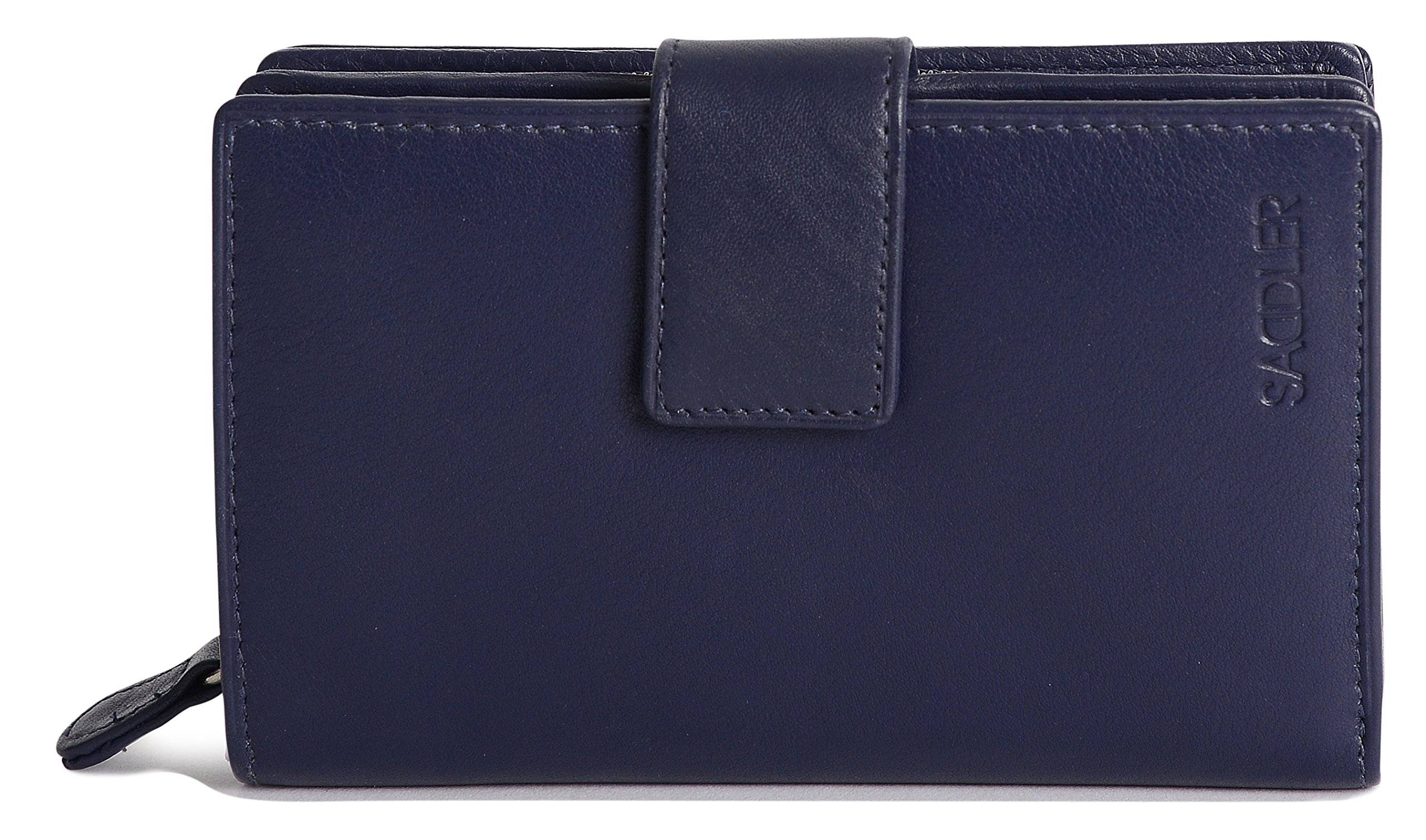 SADDLER Womens Leather High Volume Womens Tab Wallet Zipper Purse - Peacoat Blue by Saddler (Image #2)
