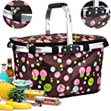 The Magic Toy Shop Insulated Cooler Hamper Basket Folding Bag Cool Picnic Camping Circle Patterns