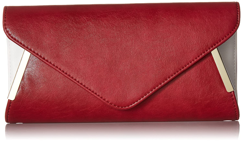 BMC Womens PU Leather Envelope Flap Metal White Accent Fashion Clutch Handbag