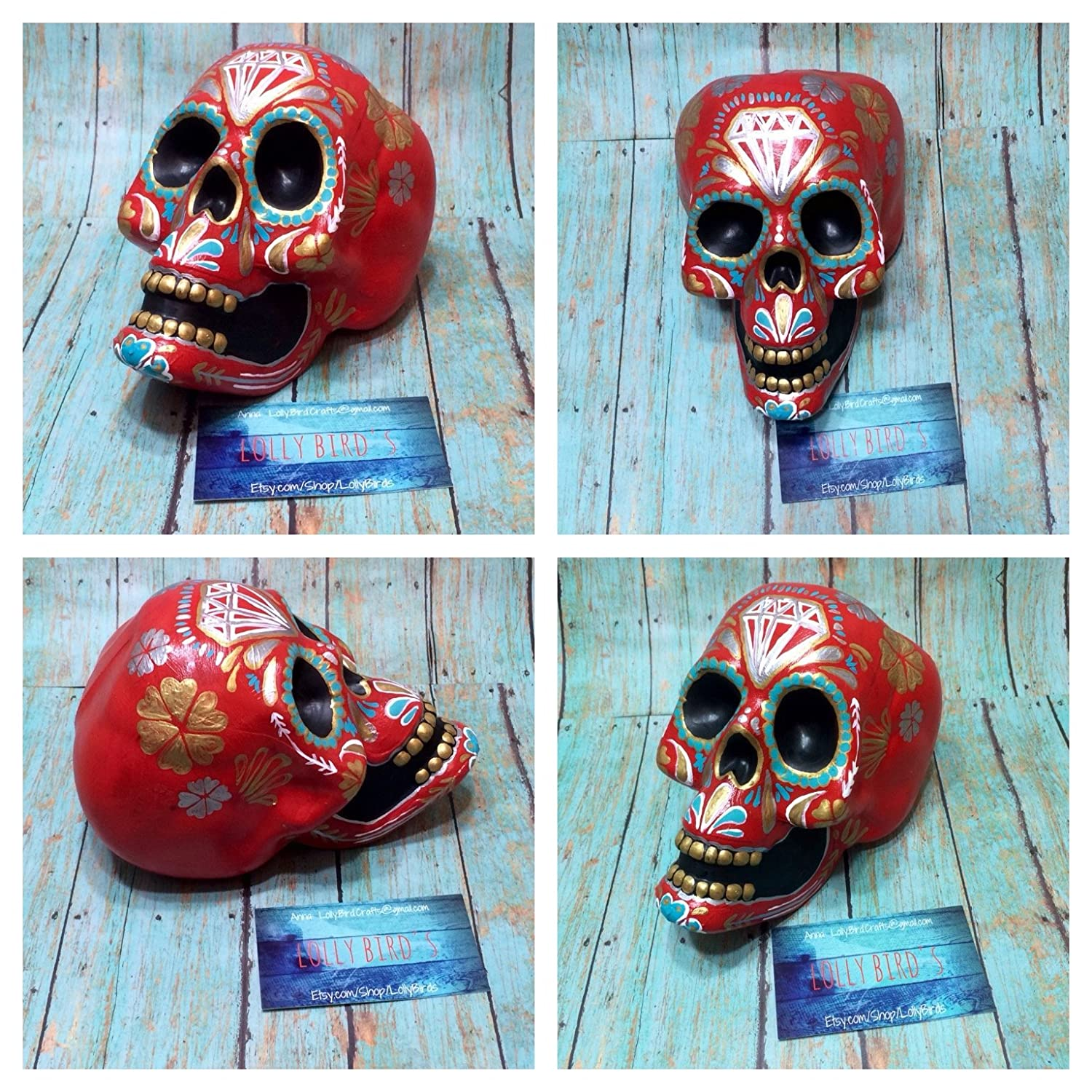 Amazon.com: Hand painted sugar skull, Calavera, painted skull ...