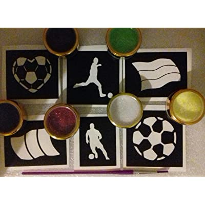 Football soccer World Cup glitter tattoo set including 30 stencils + 6 glitter colors + glue: Toys & Games