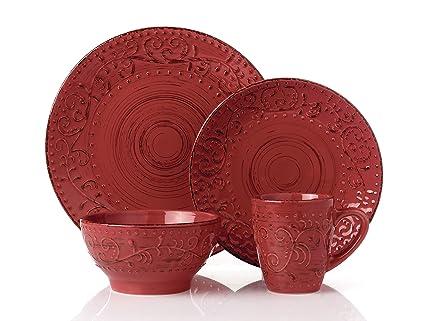 Lorren Home Trends LH430P 16 Piece Round Stoneware Distressed Dinnerware Set Green/Red  sc 1 st  Amazon.com & Amazon.com | Lorren Home Trends LH430P 16 Piece Round Stoneware ...