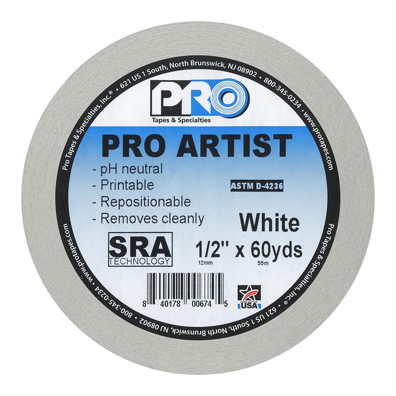 24mm x 55m blanc x 60 yds. 1 in ProTapes 840178006684 Artist Tape Ruban adh/ésif 1