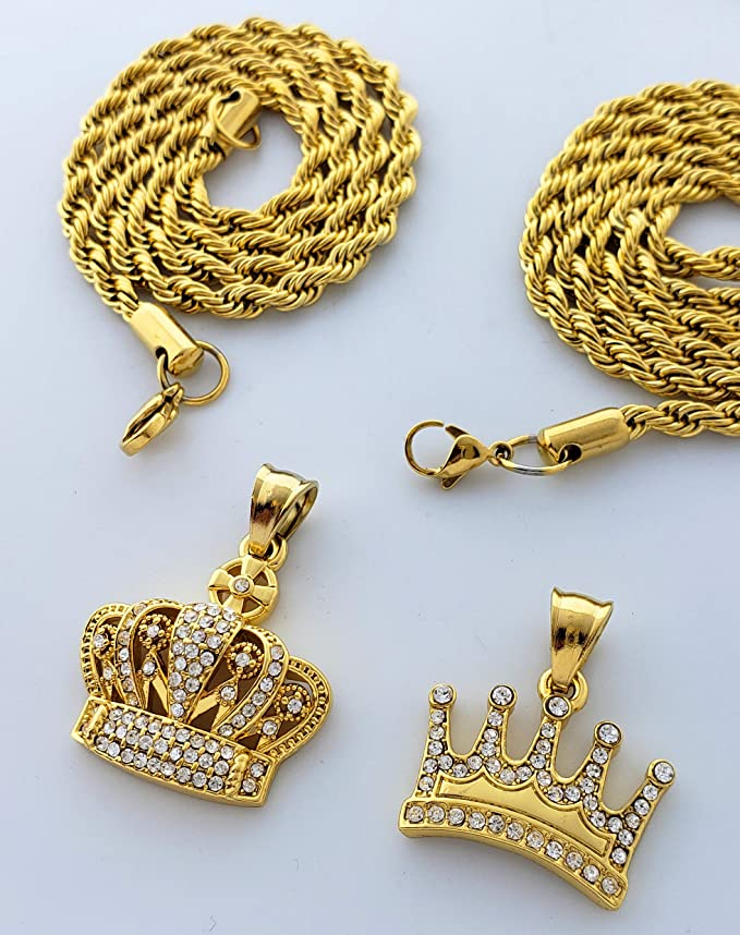 Exo Jewel Gold Stainless Steel Double Crown Pendants with 18 /& 22 Inch 4mm Rope Chains
