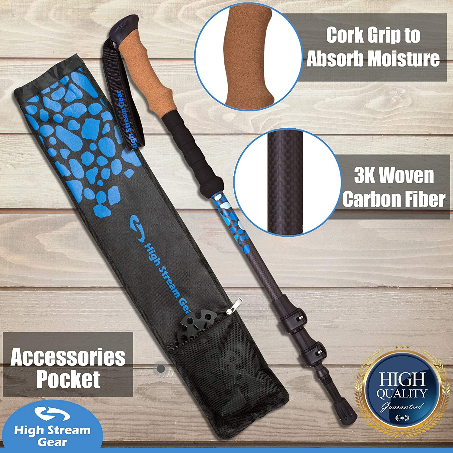 Hiking Poles High Stream Gear Trekking Poles Made of Carbon Fiber Telescopic Compact Ultra-Lightweight Real Cork Grip Handles Designed by Professional Walkers and Hikers