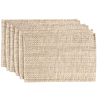 Sweet Home Collection Trends Two Tone 100% Cotton Woven Placemat (6 Pack), 13  x 19 , Eggshell