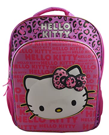 a56600d60fd0 Image Unavailable. Image not available for. Color  Hello Kitty Girl s  15.5 quot  3D School Backpack Travel Bag with Rain Hood