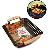 Grill Basket- Non-Stick BBQ Barbecue Grilling Wok w Heat-Resistant Handles for Meat, Vegetables, and Seafood