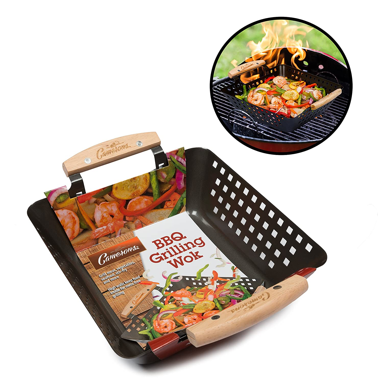 Grill Wok Basket- Barbecue Grilling Basket with 100% Non-Stick Coating and Heat-Resistant Handles by Camerons Camerons Products CAM-BGW-981