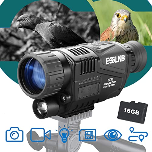ESSLNB 40mm Night Vision Monocular 5X Digital Infrared Monocular 1.5 LCD Take Photos Videos and Playback with 16G for Hunting Security Surveilla