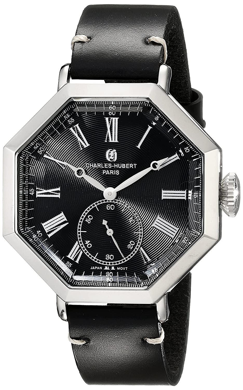 Charles-Hubert-Paris Herren-Armbanduhr 43mm Armband Kalbsleder Schwarz GehÄuse Edelstahl Quarz 3962-B